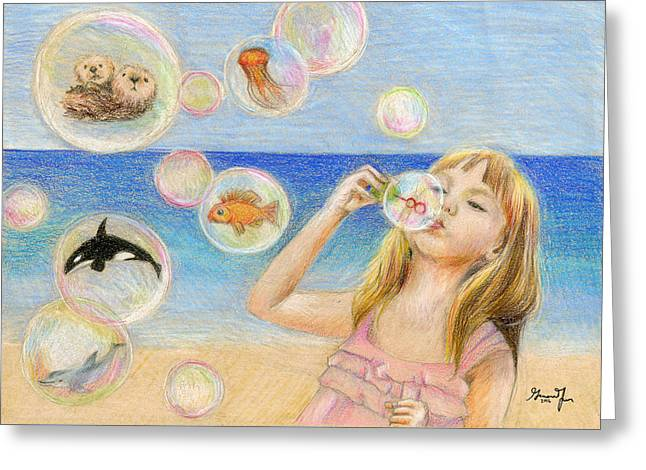 Little Girl Big Imagination By Gianina Fan 8th Grade Greeting Card by California Coastal Commission