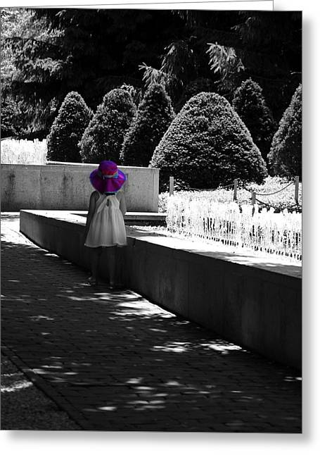 Little Girl In Magenta Hat Black And White Selective Color Greeting Card