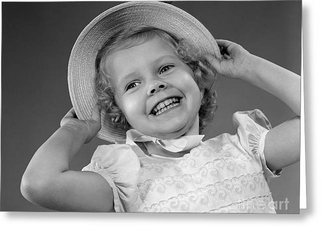 Little Girl In Straw Hat Smiling Greeting Card by H. Armstrong Roberts/ClassicStock