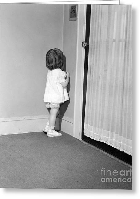 Little Girl In Time Out, C.1950-60s Greeting Card by Debrocke/ClassicStock
