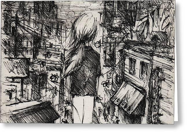 Little Girl Lost Greeting Card by Rachel Christine Nowicki