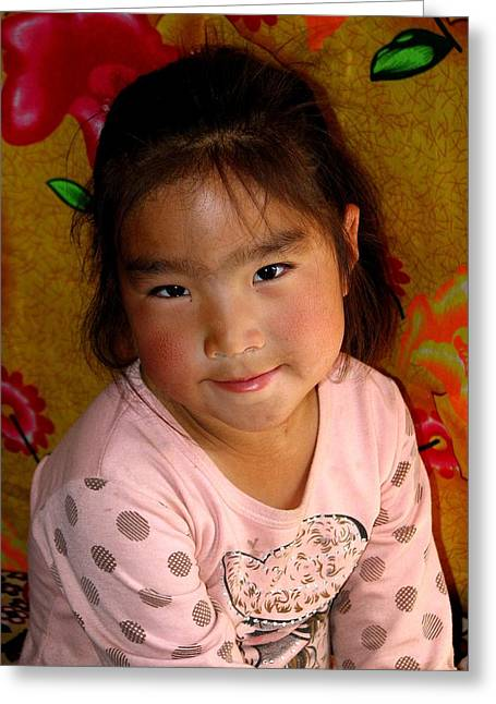 Little Girl Of The Gobi Greeting Card by Diane Height