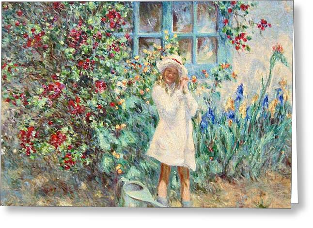 Little Girl With Roses  Greeting Card by Pierre Van Dijk