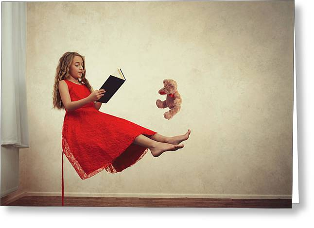 Little Girl Reading To Her Teddy Bear Greeting Card