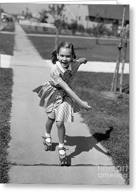 Little Girl Roller-skating On Sidewalk Greeting Card by Debrocke/ClassicStock