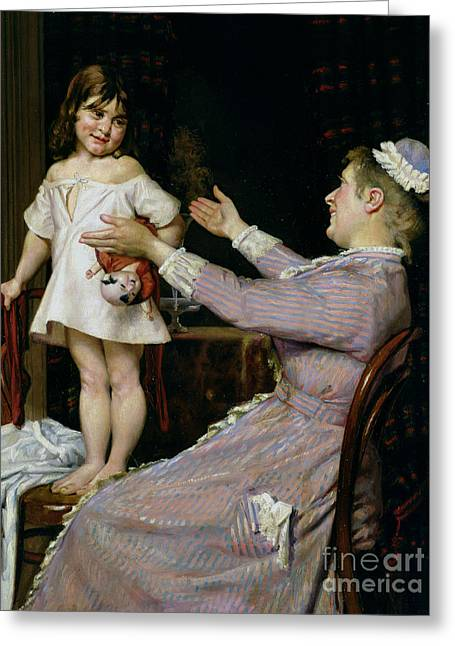 Little Girl With A Doll And Her Nurse Greeting Card by Christian Pram Henningsen