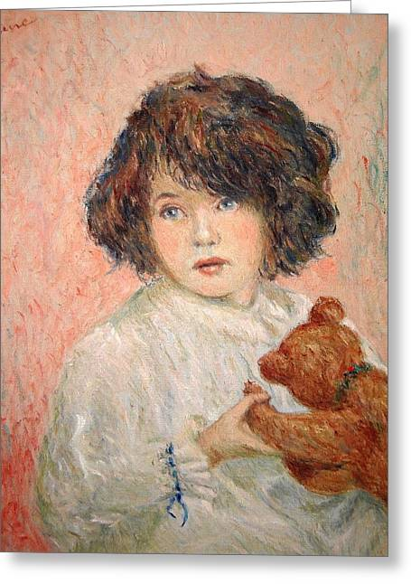 Little Girl With Bear Greeting Card by Pierre Van Dijk