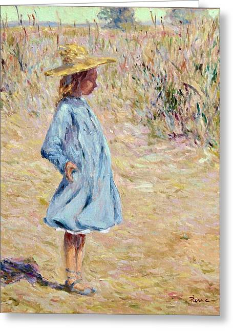Little Girl With Blue Dress Greeting Card
