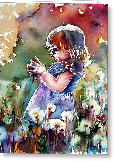 Little Girl With Dandelion Greeting Card by Kovacs Anna Brigitta