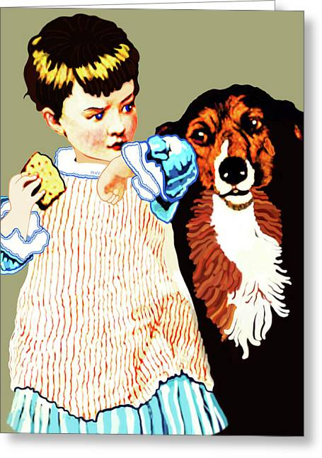 Greeting Card featuring the painting Little Girl With Hungry Mutt by Marian Cates
