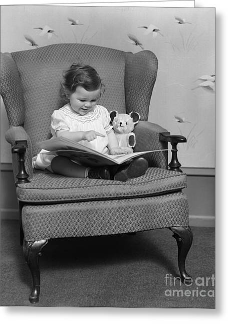 Little Girl With Picture Book, C.1930s Greeting Card