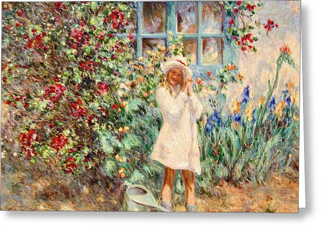Little Girl With Roses  Greeting Card