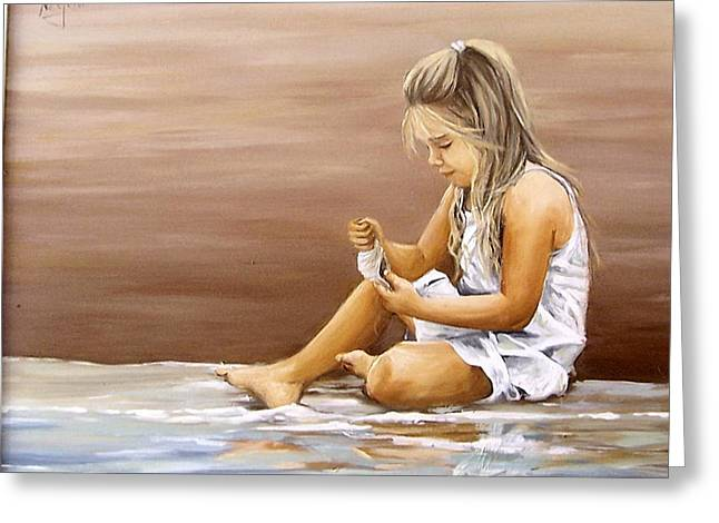 Greeting Card featuring the painting Little Girl With Sea Shell by Natalia Tejera