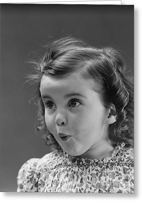 Little Girl With Surprised Expression Greeting Card
