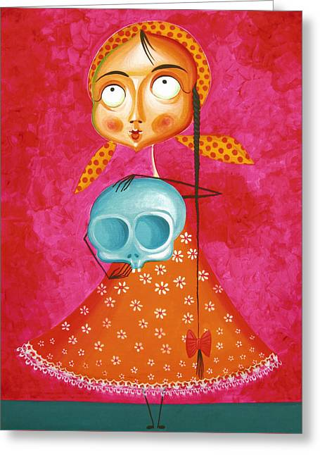 Little Girl With Toy Skull - Acrylic Painting On Canvas Greeting Card