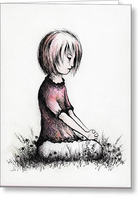 Little Girls Prayer Greeting Card by Rachel Christine Nowicki