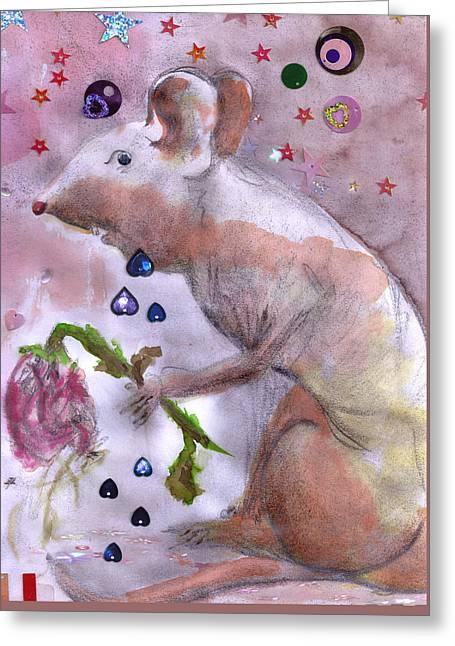 Little Gnaw Skank 2 - Rose Greeting Card by Geckojoy Gecko Books