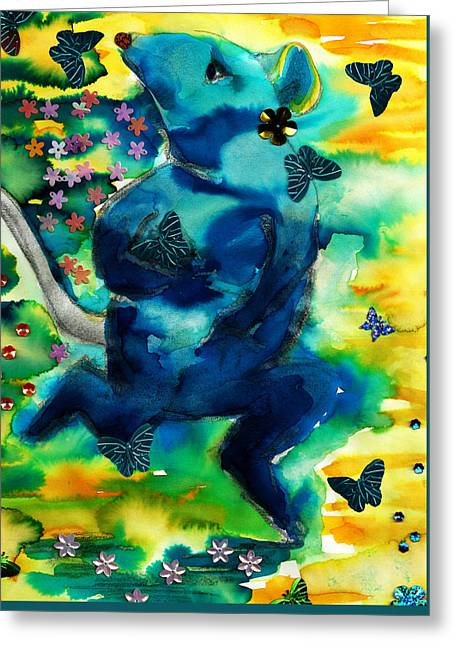 Little Gnaw Skank 5 - Butterflies Greeting Card by Geckojoy Gecko Books