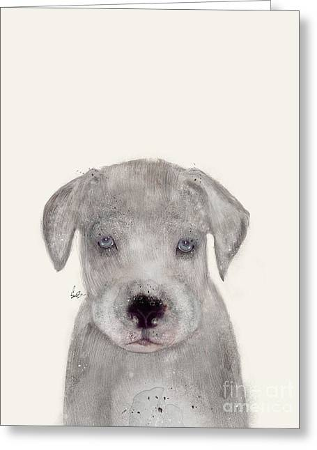 Greeting Card featuring the painting Little Great Dane by Bri B
