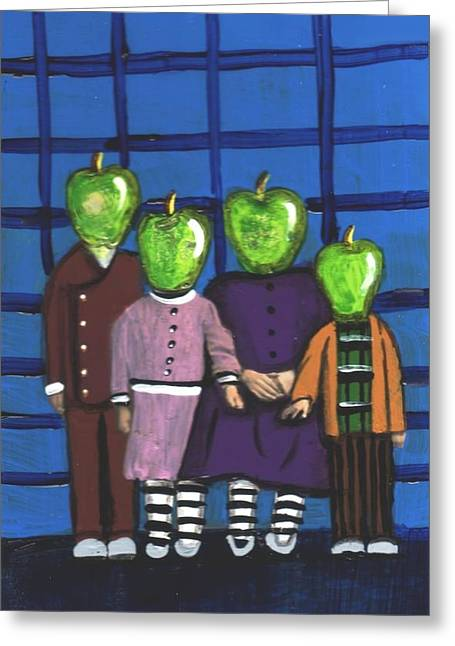 Little Green Apple Head Kids Greeting Card