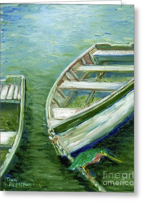 Little Green Egret On Bateau Greeting Card