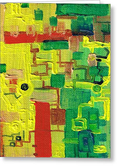 Little Green Machine Greeting Card by Regina Valluzzi