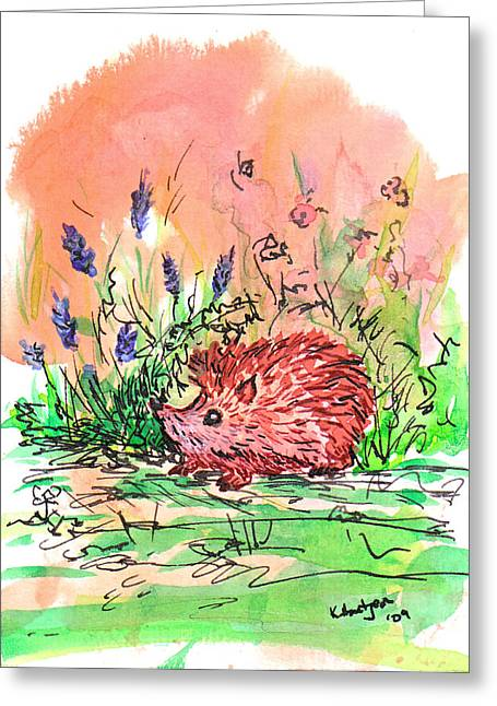 Little Hedgehog In The Lavender Greeting Card by Kerry Hartjen