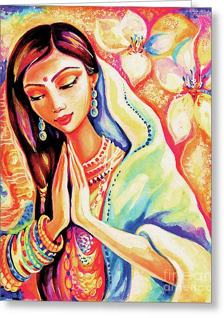 Greeting Card featuring the painting Little Himalayan Pray by Eva Campbell