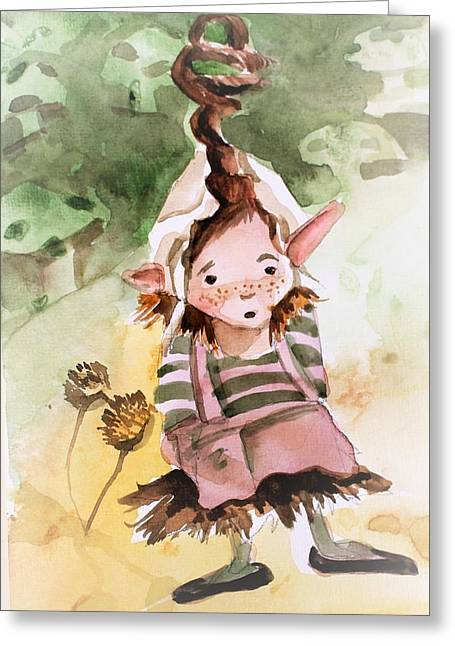 Little Hobgoblin Girl Greeting Card by Mindy Newman