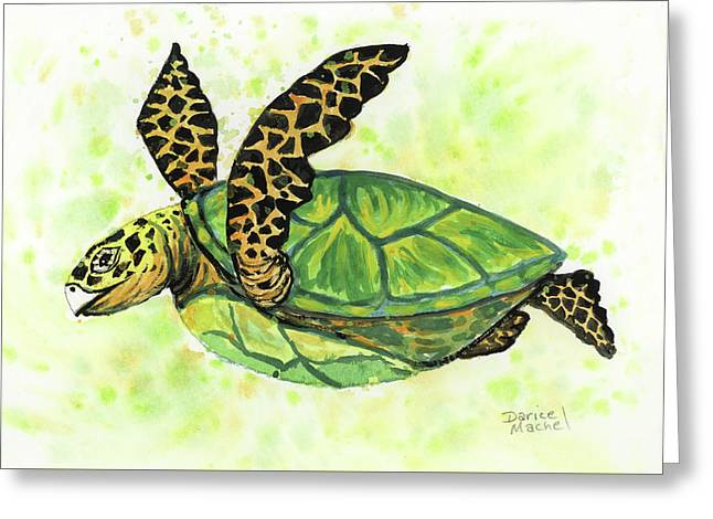 Greeting Card featuring the painting Little Honu by Darice Machel McGuire