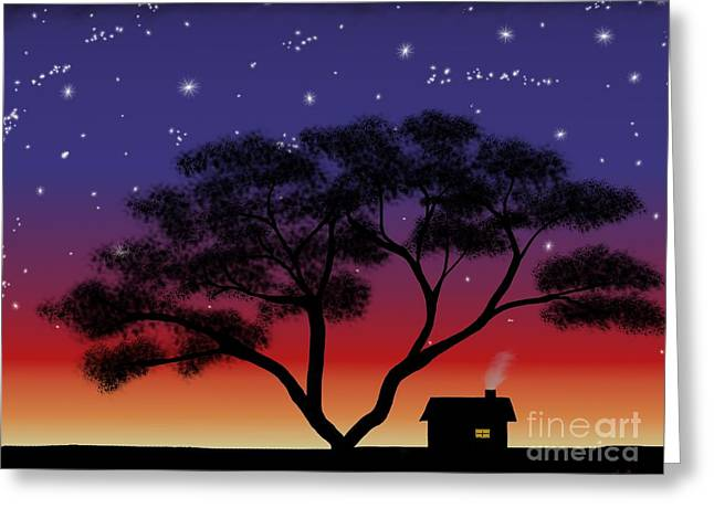 Little House At Sunset Greeting Card