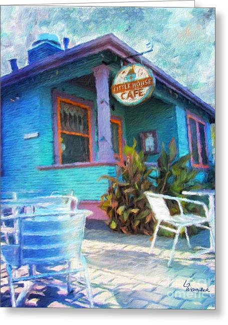 Little House Cafe  Greeting Card by Linda Weinstock