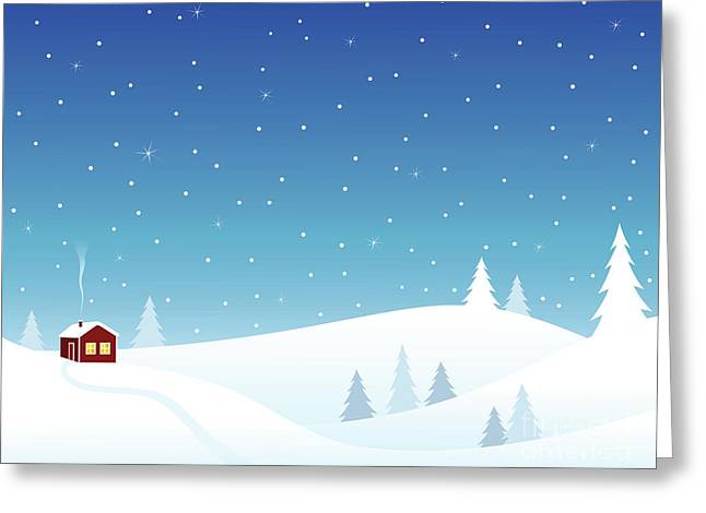 Little House In Snowy Hills Greeting Card by GoodMood Art