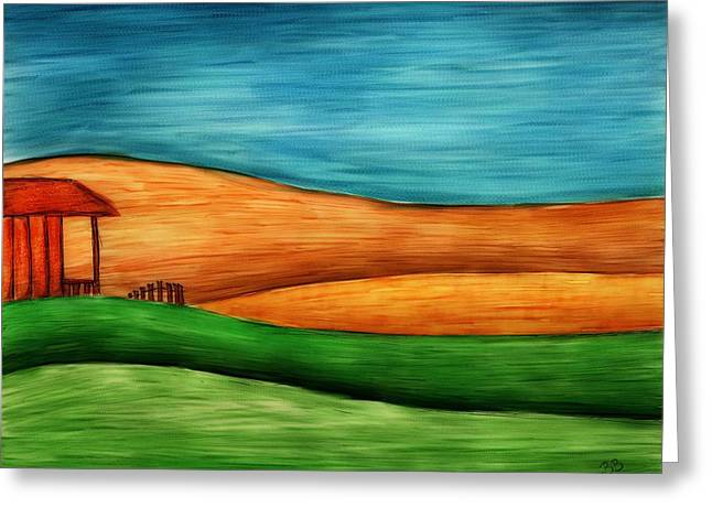 Little House On Hill Greeting Card