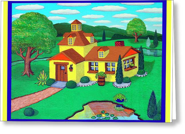 Little House On The Green Greeting Card by Snake Jagger