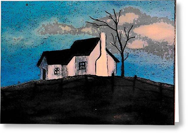 Greeting Card featuring the drawing Little House On The Hill by John Stuart Webbstock