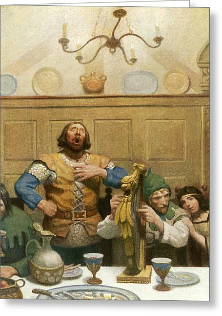 Little John Sings At The Banquet Greeting Card by Newell Convers Wyeth
