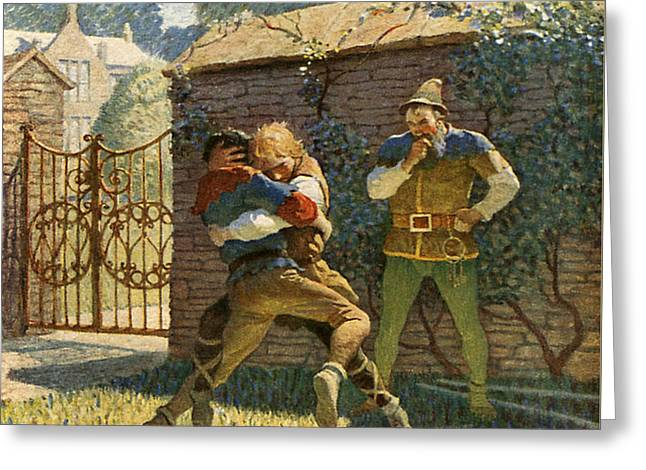 Little John Wrestles At Gamewell Greeting Card by Newell Convers Wyeth
