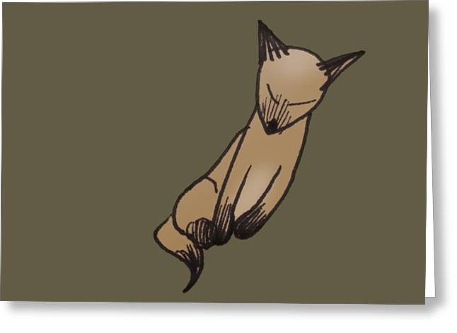 Greeting Card featuring the drawing Little Kitty by Keith A Link