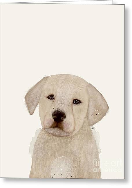 Greeting Card featuring the painting Little Labrador by Bri B