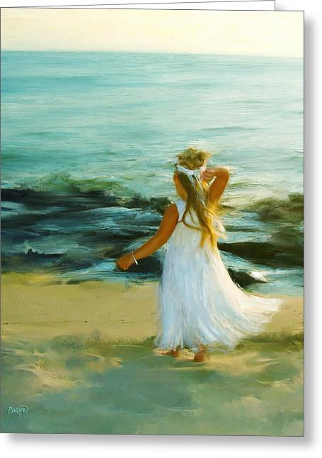 Little Lady At The Beach Greeting Card