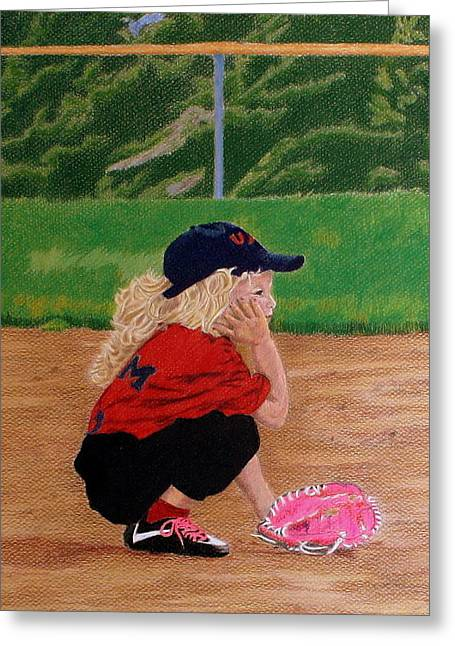Little Lady Slugger To Be Greeting Card by Kathy Crockett