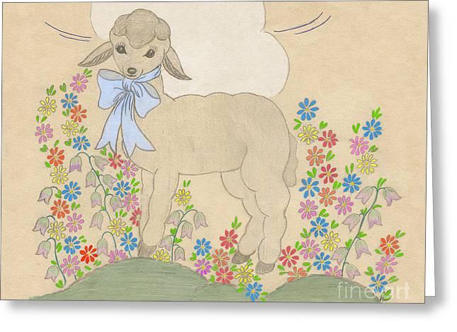 Little Lamb Lightened Greeting Card