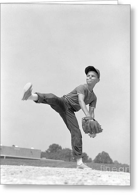 Little League Pitcher, C.1960s Greeting Card by H. Armstrong Roberts/ClassicStock