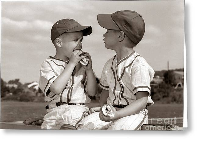 Little Leaguers Eating Hot Dogs, C.1960s Greeting Card by H. Armstrong Roberts/ClassicStock