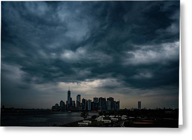 Greeting Card featuring the photograph Little Manhattan Under A Cloud by Chris Lord
