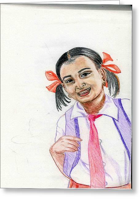 Little Manju Greeting Card by Asha Sudhaker Shenoy