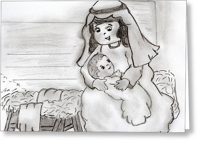 Little Mary And Baby Jesus Greeting Card by Sonya Chalmers