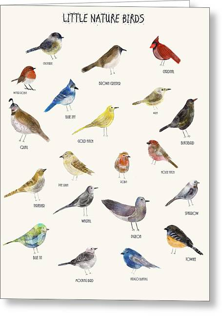 Little Nature Birds Greeting Card by Bri B