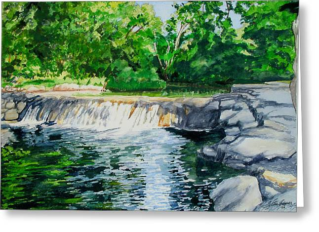 Little Niagra Falls On Travertine Creek Chickasaw National Recreation Area Sulphur Oklahoma Greeting Card by Wes Loper